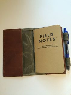 QualityTop Grain Leather and Waxed Canvas Field Notes Holder 0d1023afc7ba3