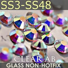 Super Clear AB SS3 SS4 SS5 SS6 SS10 SS20 SS30 SS40 for Nails Art Rhinestones Glitter Crystals DIY Non HotFix stones Decor strass <3 Click the VISIT button for detailed description