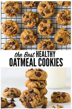 Clean eating Healthy Oatmeal Cookies with applesauce honey chocolate and raisins NO SUGAR low calorie and kid-friendly these soft chewy cookies are the perfect healthy dessert or even snack wellplated oatmealcookies healthy via wellplated Oatmeal Applesauce Cookies, Healthy Oatmeal Cookies, Healthy Cookie Recipes, Oatmeal Chocolate Chip Cookies, Healthy Desserts, Gourmet Recipes, Recipe With Applesauce, Healthy Drinks, Healthy Foods