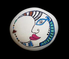 Painted Moon Face Rocks - Hand painted rocks & furniture