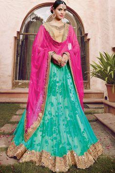 Aqua green multicoloured net trendy floor length kalidar lehenga with shimmer silk gold choli-GC397