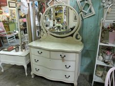 Lovely antique dresser I gave an uplift to with Annie Sloan decorative paint in Old Ochre and Old White