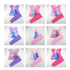 Free Shipping 2014 New Baby Elsa Princess Pyjamas Girls Frozen Pajamas set Anna's Pijama Kids Clothing set Printed Sleepwears
