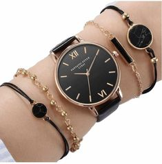 Set Top Style Fashion Women's Luxury Leather Band Analog Quartz WristWatch Ladies Watch Women Dress Reloj Mujer Black Clock-in Women's Watches from Watches on AliExpress Stylish Watches, Cool Watches, Watches For Men, Ladies Watches, Women's Watches, Wrist Watches, Rolex Datejust, Moda Hippie, Black Clocks
