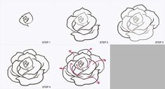 How do you draw a rose drawing a rose realistic images draw easy rose flower . Drawing Lessons, Drawing Techniques, Drawing Tutorials, Art Tutorials, Rose Drawing Simple, Simple Rose, Flower Step By Step, Step By Step Drawing, Plant Drawing