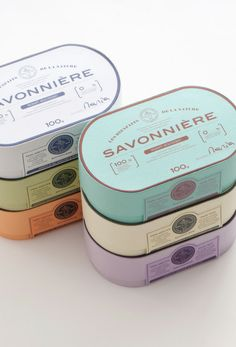 Savonniere soap in tin can packaging Design Logo, Label Design, Typography Design, Branding Design, Graphic Design, Lettering, Package Design, Corporate Design, Pretty Packaging
