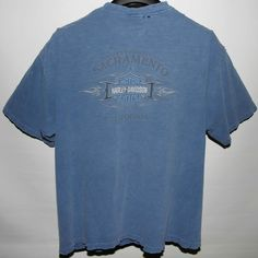 HARLEY DAVIDSON T-SHIRT Men's XXL Blue Distressed Wrecked Faded Made In The USA #HarleyDavidson #GraphicTee
