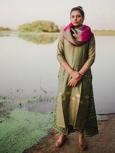 Mehndi Green Chanderi Cotton Block Printed Suit - Set of 3