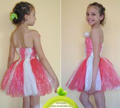diy kid's dress from plastic bags Recycled Costumes, Recycled Dress, Recycled T Shirts, Diy Dress, Fancy Dress, Sewing Ruffles, Concert Dresses, Recycled Fashion, Ballroom Dress