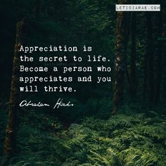 Appreciation is the secret to life. Become a person who appreciates and you will thrive. Abraham Hicks 🦋 #california #LeticiaRae #FindingTheSilverLining #FTSL #positivequotes #quotestoinspire #personaldevelopment #spiritualgrowth #love #hope #fallbrook #abrahamhicks #appreciation #secrettolive #thesecret #lifesecrets #thriving #thrivingonlife #nature #forest #plants #green #quotestoremember Gratitude Quotes, Positive Quotes, Gratitude Changes Everything, Forest Plants, Abraham Hicks, Spiritual Growth, Personal Development, The Secret, Appreciation