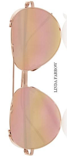 LINDA FARROW Aviator-style rose gold-plated mirrored sunglasses . shop now http://rstyle.me/n/bqgmanrm5w . Linda Farrow updates the classic aviator-style silhouette with a lightweight rose gold-plated titanium frame. This glamorous pair is finished with gleaming mirrored lenses - they look especially flattering on warm skin tones.