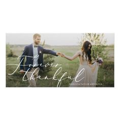 Forever Thankful Wedding Thank You Card - photos gifts image diy customize gift idea