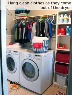 "Add a clothes rod above your washer and dryer for more functional space. Step-by-step tutorial for DIYing this yourself. ""would be perfect for the new laundry room! Laundry Room Storage, Diy Storage, Clothes Rod, Clothes Hanger, Laundry Hacks, Do It Yourself Home, Home Projects, Design Projects, Design Ideas"