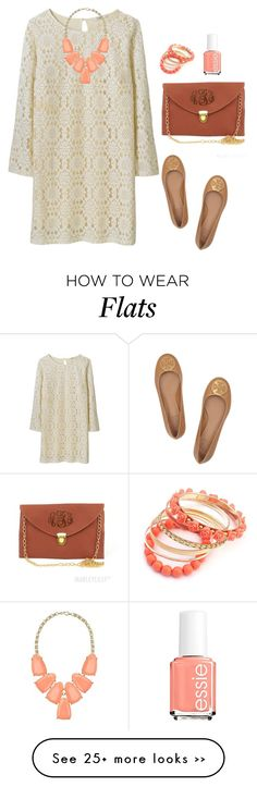 """""""Life is just peachy"""" by sc-prep-girl on Polyvore featuring Tory Burch, Kendra Scott, Ruby Rocks and Essie"""