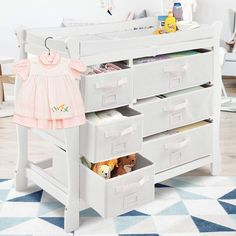 Costzon Baby Changing Table Infant Diaper Changing Table Organization Newborn Nursery Station with Pad Sleigh Style Nursery Dresser Changing Table with Hamper/ 6 Baskets (White) Baby Nursery Closet, Nursery Dresser, Newborn Nursery, Baby Nursery Themes, Babies Nursery, Baby Bedroom, Changing Table Top, Changing Table Dresser, Basket Drawers