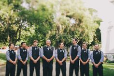 bow ties and vests for the Groom and groomsmen Photography by kellystonelake.com    Bouquets + Boutonnieres by amysflowerssanjose.com      Read more - http://www.stylemepretty.com/2013/06/12/coyote-ranch-wedding-from-kelly-stonelake-photography/