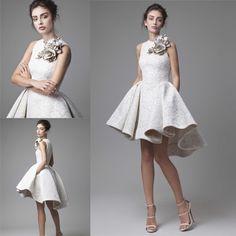 2016 Krikor Jabotian High Low Prom Dresses Jewel Neckline A-Line Flower Appliqued Party Gowns Cheap Short Lace Evening Arabic Occasion Wear