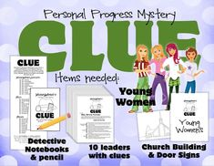 Young Women's Personal Progress Mystery Night was so much fun! Each girl got her own clue notebook which is just a piece of paper cut in half. I color coated the papers (notebooks) and told the girls to team up ...
