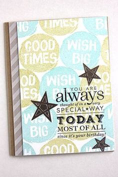 Birthday Thoughts Card by Heather Nichols for Papertrey Ink (May 2015)