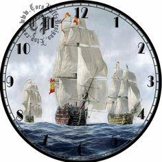 Fleet of Ships Art DIY Digital Collage от CocoPuffsDesigns Clock Art, Diy Clock, Wall Clocks, Clock Face Printable, Fleet Of Ships, Wall Watch, Printable Pictures, Antique Clocks, Gifts For Office