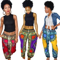 18188c3b3bd New Style Dashiki Drawstring Waist Java Print Loose Pants Dashiki