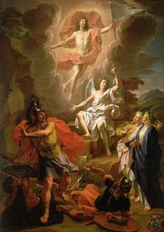 The Resurrection of the Christ (1700) by French artist Noël Coypel who was born on Christmas Day and died on Christmas Eve, one day short of his 79th birthday. Description from pinterest.com. I searched for this on bing.com/images