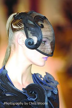 Modernist label used lasercut neoprene in millinery. photo by Chris Moore