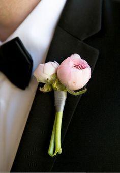 Groom boutonniere inspiration: mini blush peony or garden rose
