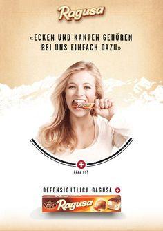 Ragusa. Chocolat Camille Bloch. Werbung mit Lara Gut.