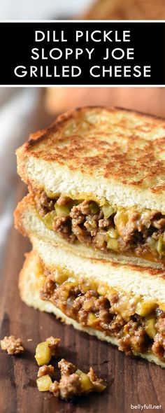 Dill Pickle Sloppy Joe Grilled Cheese is the best of both sandwich worlds when s. - Dill Pickle Sloppy Joe Grilled Cheese is the best of both sandwich worlds when sloppy joes and gril - Grill Sandwich, Soup And Sandwich, Sandwich Pickles, Salmon Sandwich, Steak Sandwiches, Cheese Burger Soup Recipes, Grilled Cheese Recipes, Sandwich Recipes, Grilled Cheeses