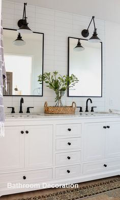 Modern Farmhouse Master Bathroom Renovation with Delta: The Process & Reveal black and white bathroom, black sconce over bathroom mirror, black bathroom faucet, black knobs white cabinet Bathroom Vanity Designs, Vanity Decor, Bathroom Sink Vanity, Modern Bathroom Design, Bathroom Interior Design, Bathroom Ideas, Bathroom Organization, Bathroom Black, Bathroom Tray