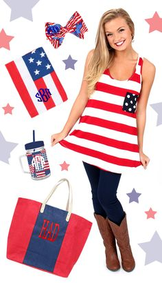 Show your AMERICAN PRIDE! $29.99 Party In The USA Tank from mondaydress.com + accessories from marleylilly.com! #USA #America #Merica #RedWhiteBlue #Love #Monogram