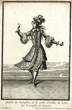 Habits des nymphes de la suite d'Orithie du balet du Triomphe de l'Amour. Costume by Jean Berain père: a young woman wearing a feathered turban and embroidered jacket and skirt, dancing on a stage, 1681. Lully introduced the participation of women as professional dancers in this ballet.: