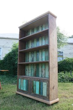 laurel bookcase in greens by Matthew Holdren, via Flickr #recycled #recycle  #upcycle
