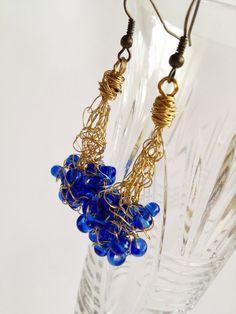 Blue crochet earrings/ Copper Wire Earrings/ от ElenaVorobey