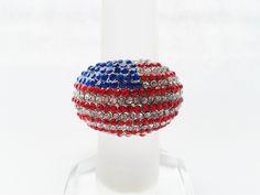 Red White and Blue Rhinestone Ring ~ Shoppingbuyfaith.com #memorialday