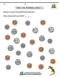 Money worksheets for kindergarten Find the dimes sheet 1 | Education ...