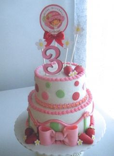 Strawberry Shortcake birthday cake. By Sweetly Stacked.  https://www.facebook.com/pages/Sweetly-Stacked/103294699762439