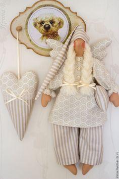 Сонный ангел+сердце - бежевый, сонный ангел, спальня, сплюшка, сплюх, тильда, подарок, белый