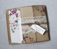 Rustic Wedding Invitation. Lace Wedding por LoveofCreating en Etsy