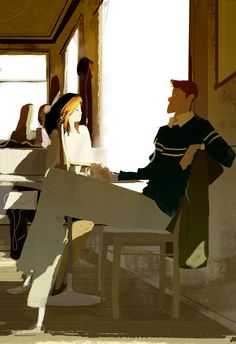That winter feel. #pascalcampionart _You know what I love about winter? -What? _Catching the heat of the sunlight behind a window, and watching the cold street outside. It makes me want to stay here...