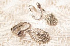 Sterling Silver Shell Dangle Clip On by ViksVintageJewelry on Etsy