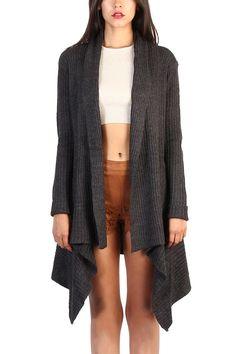 Open Front Knit Cardigans-Charcoal Grey #jacket #sweather #blazer #winter #newyear #2017 #lovemelrose