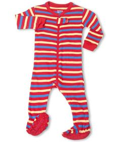 """Leveret Footed """"Striped"""" RBY Pajama Sleeper 100% Cotton (Size 6M-5T) (12-18 Months, Red/Yellow/Blue) - http://www.discoverbaby.com/maternity-clothes/sleepwear/leveret-footed-striped-rby-pajama-sleeper-100-cotton-size-6m-5t-12-18-months-redyellowblue/"""