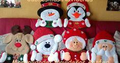 Hermosos muñecos navideños elaborados en fieltro, decorados en tela polar y greca. Se adaptan a cualquier tipo de silla.                  ... Christmas Sewing, Felt Christmas, Homemade Christmas, Christmas Humor, Christmas Projects, Christmas Stockings, Christmas Ornaments, Felt Decorations, Christmas Decorations