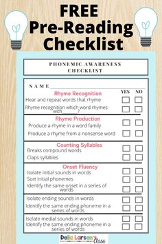 Phonemic awareness fluency is crucial for kindergarten and preschool students. Grab this free checklist to ensure you know what skills your beginning readers have mastered. Literacy Stations, Literacy Skills, Literacy Centers, Kindergarten Readiness, Kindergarten Classroom, Nonsense Words, Sight Words, Interactive Learning, Fun Learning