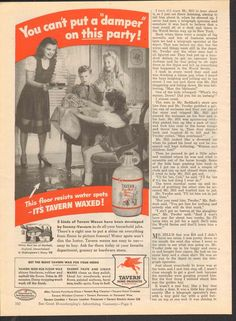 1944 Vintage Magazin Ad Tavern Home Products Can't Put a Damper on this Party  #TavernHomeProducts