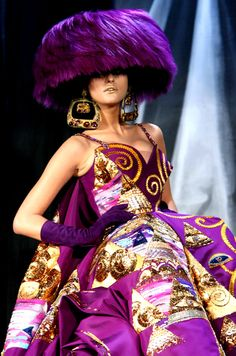 Christian Dior Haute Couture,  Liking the color purple and this dress.  -Roberta I. PInehead, fictional character having 'good' taste. Don't I?   Well, Cousin Nellie questions my taste in clothes, but she says I am good to animals and to people. Then why is it hard for me to get a boyfriend? - I blog on her