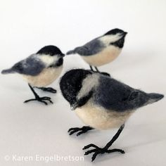 This little chickadee is needle felted from wool roving and stands on wire, linen-wrapped feet. Almost life-size and full of authentic expression that makes her look real! KJE Felties™ are designed and individually crafted by me, Karen Engelbretson. Each one is unique and no two are the same. They are all based on direct observations of the birds I attract to my gardens with native plants, water features, and seed and suet feeders. Chickadees move fast, so I quickly sketch their…