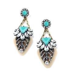 Inspired Stella Dot Tropical Turquoise Paradise Chunky Earrings